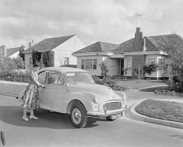 Woman with Motor Vehicle, Ashburton, Melbourne, Victoria, 10 Sep 1959