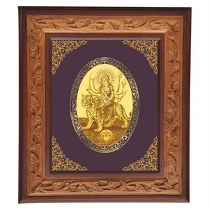 """The word Durga in the ancient Hindu language Sanskrit means """"Durgatinashini"""", this literally translates into the one who eliminates sufferings. Thus for auspiciousness here is a royal gold foil royal wall frane of the Goddess. link: http://diviniti.co.in/en/maa-durga"""