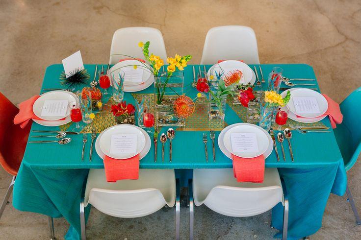 Colorful Mod Wedding Inspiration Shoot - wedding centerpiece. photo: Mary Wyar