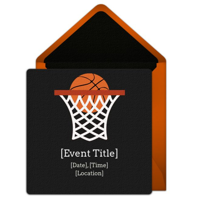 Customizable, free Basketball Net online invitations. Easy to personalize and send for a party. #punchbowl