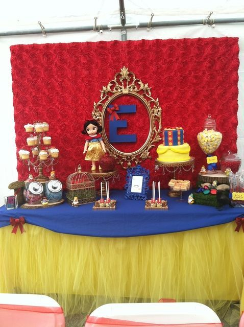 Snow White Birthday Party Cake Table Tulle