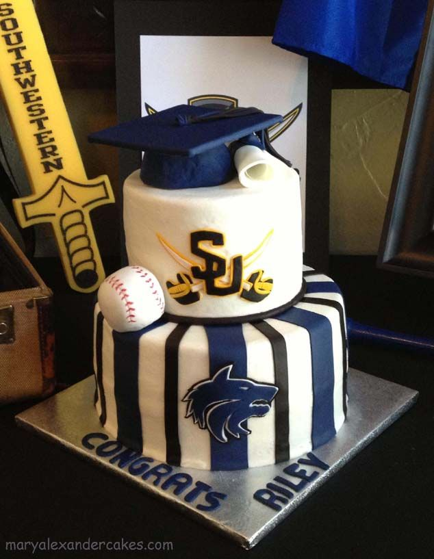 Plano West baseball graduation theme cake.  From Mary Alexander Cakes in Dallas Texas www.maryalexandercakes.com