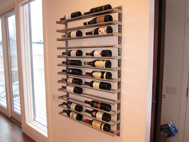 Stainless steel wine rack made from Grundtal 80cm double towel racks. (Ikea)