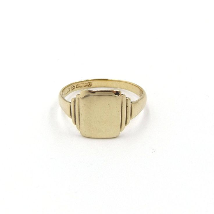 9ct Gold Signet Ring | 9k Vintage Men's Ring | UK size V ~ US size 10 1/2 | Gent's Ring Hallmarked 1946 by DaisysCabinet on Etsy