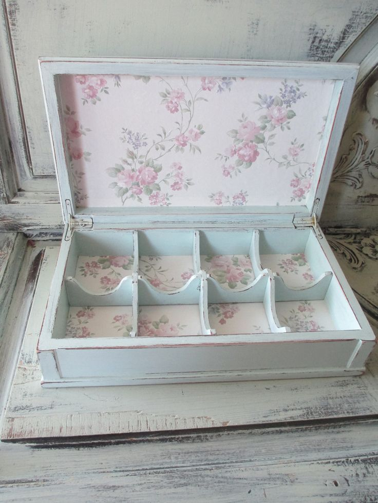 Tea Box - Jewelry Box - Hand Painted - Tea Party. $45.00, via Etsy.  Nice Jewelry/bead display idea!