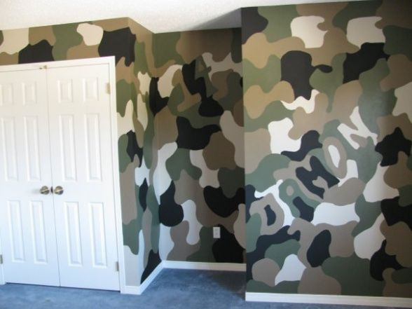 My sons camo room., My son Damons camo wall, once we get moved in I can post the rest of the room.  Thanks to the lady who posted her sons camo wall, it was a great inspiration., Boys Rooms Design