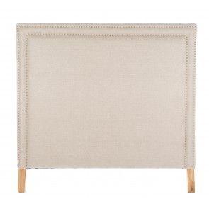 Testata matrimoniale in canvas di lino e profili con borchie