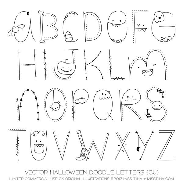 vector halloween doodle letters cu by miss tiina - Halloween Writing Font