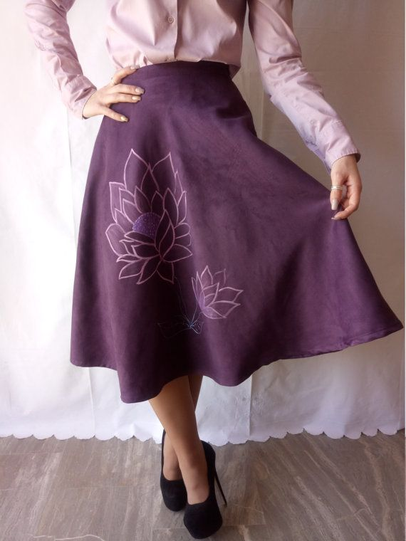 Purple Skirt with handmade Painted Flowers One of a Kind!