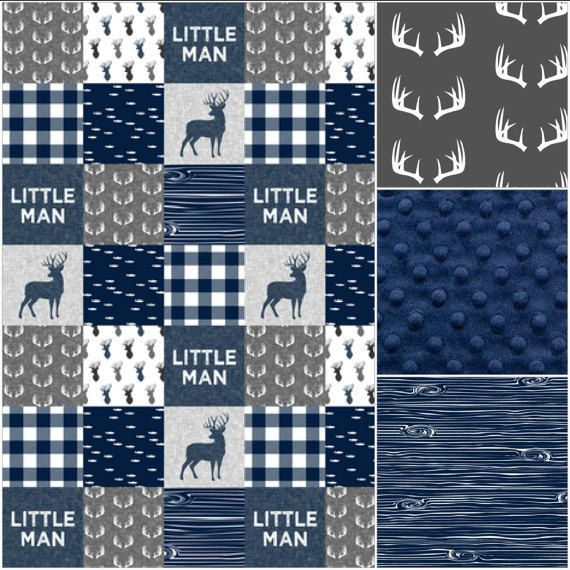 Baby Boy Crib Bedding  Little Man Deer Gray by DesignsbyChristyS