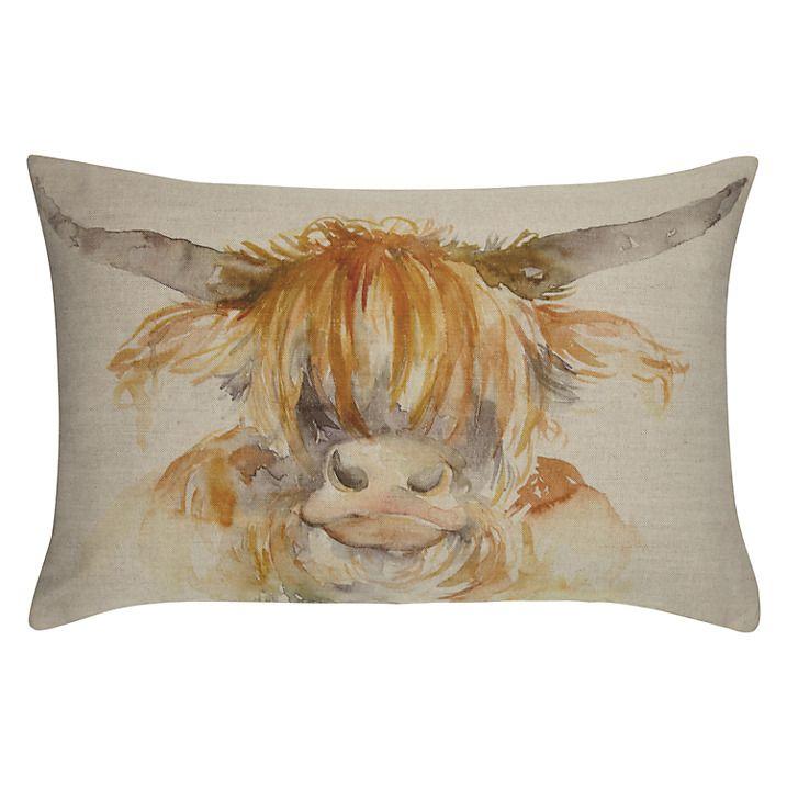 Voyage Maison Highland Cow Cushion. Available at www.thegreatbritishhome.com #voyagemaison #thegreatbritishhome #cushion #homedecor #madeinbritain #angus #cowcushion #highlandcow #countrystyle