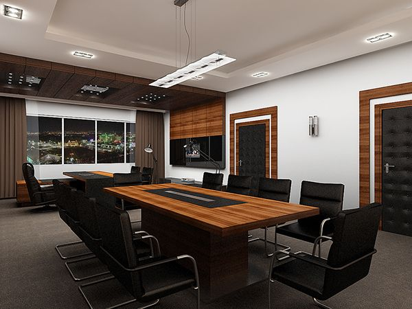 Executive Director Office Conference Room Complete Interior Design Concept Space Planning CAD