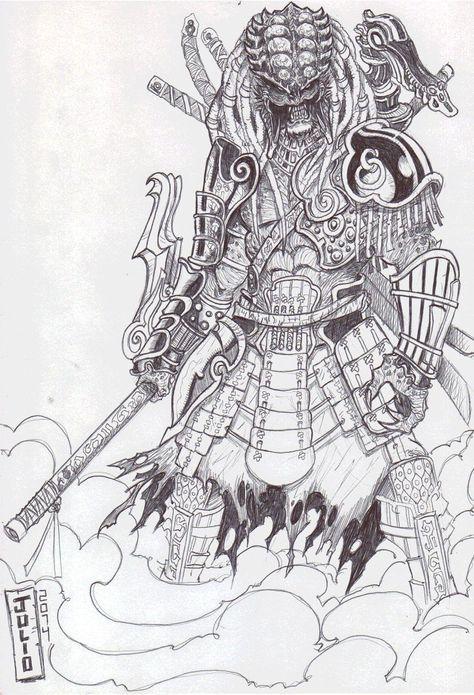 51 Deadliest Predator Tattoo Designs Ideas For Men: Predador-samurai001 By Vandalocomics.deviantart.com On