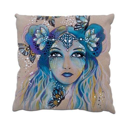 Butterfly Blue Spirit Fae Cushion by helenfaerieart at zippi.co.uk