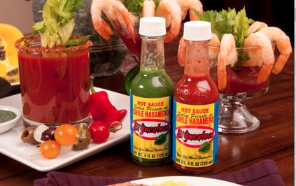 Habanero Bloody Mary, with El Yucateco Roja or Vedra Sauce.