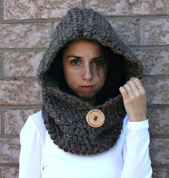 Chunky Hooded Cowl with Wood Button/ Hooded Infinity Scarf/Barley/THE JACKSON on Etsy, £34.99