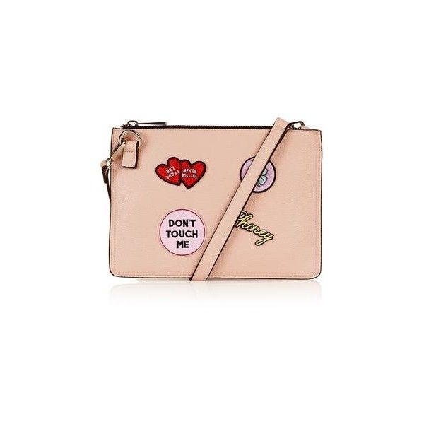 TopShop Badge Detailed Clutch ($15) ❤ liked on Polyvore featuring bags, handbags, clutches, pink, pink handbags, structured purse, topshop purses, structured handbags and pink clutches
