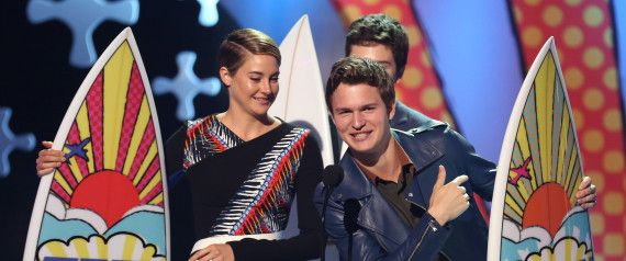"""The fault in our movie stars! Leads Shailene Woodley and Ansel Elgort of """"The Fault in Our Stars"""" won the coveted Teen Choice Award - a surfboard. Teens made their choice online, and the other winners are: Demi Lovato for her song """"Really Don't Care""""; Donald Sutherland as """"Hunger Games"""" villain; Josh Hutcherson (also from the """"Games"""") as sci-fi fantasy actor; Bethany Mota as female web star; Lucy Hale (""""PLL"""") as TV drama actress; Odeya Rush (""""The Giver"""") as breakout star."""