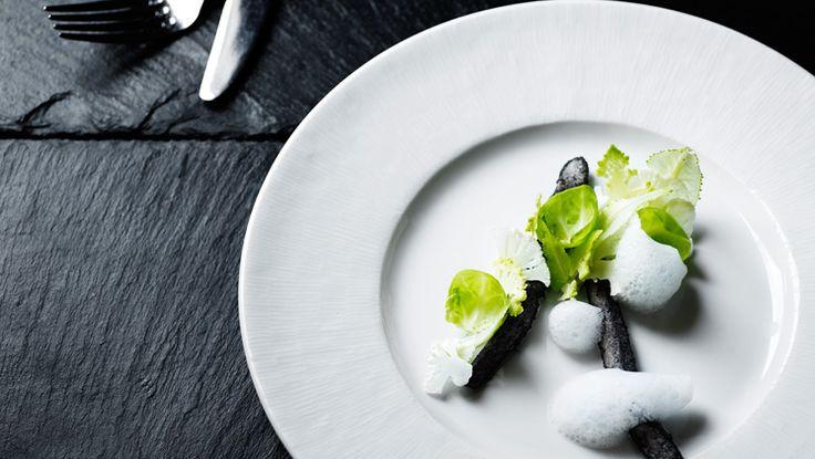Kokkeriet Michelin star restuarant in Copenhagen Denmark. Zander, foam and cabbage starter fish dish