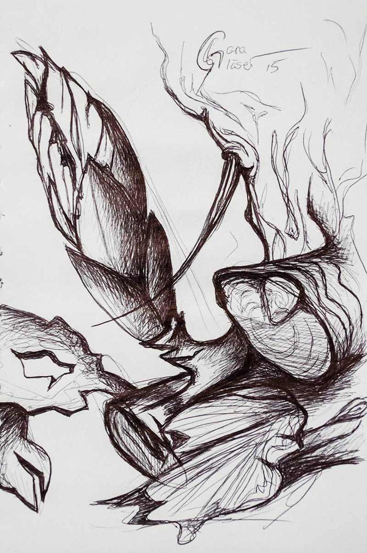 Knospe Mehr Schwarz sehen, Skizze Zeichnung mit schwarzem Kuli von sgkunst