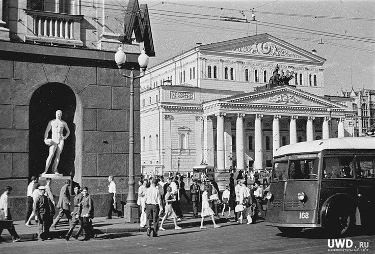 Moscow theatre building, end of 1940s, you can still see people in military uniform