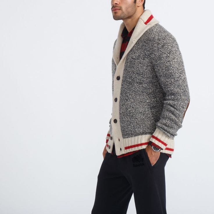Men's Roots Cabin Shawl Cardigan F/W 2015/2016, style 01050327, Grey Oat Mix