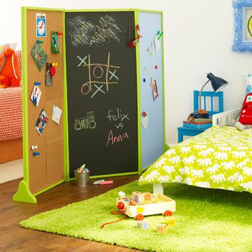 """Separate the kids without creating an obtrusive barricade. Dividers can serve an additional purpose -- for storage, play, or simply decoration.                 What you'll need:  -12 4' pieces and 12 22"""" pieces of 1"""" trim  -4 wooden shelf brackets -2 quarts of indoor latex paint (1 quart each of 2 colors) -paintbrushes or rollers -3 48""""x22"""""""
