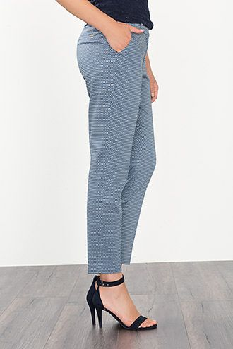 Stretch printed cotton trousers with belt