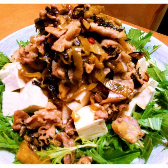 豚と高菜の炒めたやつが食べたかったの! 昔よく飲んでた店の豚と高菜炒めたやつがごはんに乗っかった「高菜めし」これ、最高にうまかったなー!!(≧∇≦) なあんて思いながらつまみに作ったとうふのっけ。味付けはナンプラーと醤油!まあ、間違いのないうまさ(笑) - 99件のもぐもぐ - 豚と高菜の絶対うまいやつ! by shizt