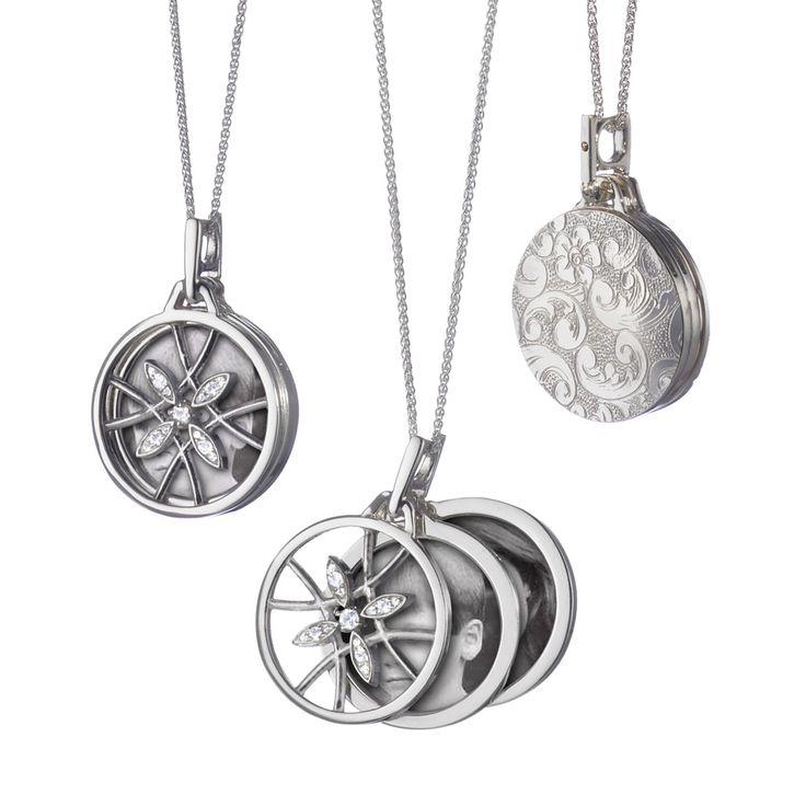 Monica Rich Kosann 1 Pinstriped Silver Oval Locket Necklace OJlfaD