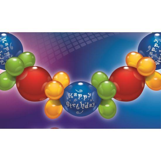 Ballonnen slinger guirlande Happy Birthday. Deze vrolijke ballonnen slinger of guirlande bestaat uit meerdere ballonnen (rood, groen, geel en blauw) waarmee u zelf de slinger kunt maken d.m.v. handige bijgeleverde houdertjes! Met een lengte van ruim 2 meter! Ideaal voor een mooie poort boog voor een verjaardag!