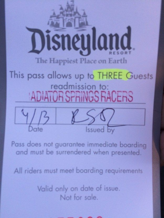 But guess what? Literally all you have to do is explain what happened to a crew member working the line. They'll give you this handy slip, and let you in the FastPass line: | One Thing All Type 1 Diabetics At Disneyland Should Know