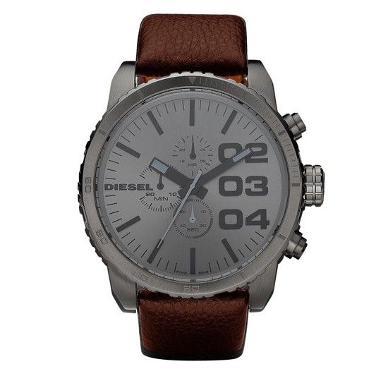 Men's Chronograph Watch Diesel DZ4210 Oversized Gunmetal dial.   Gunmetal ion-plated stainless steel case Brown leather strap Gunmetal dial Chronograph function Scratch resistant mineral crystal Water resistant up to 50 meters/ 165 Feet Case Size: 58 mm x 51.6 mm Case Thickness: 13 mm Lug Width: 26 mm