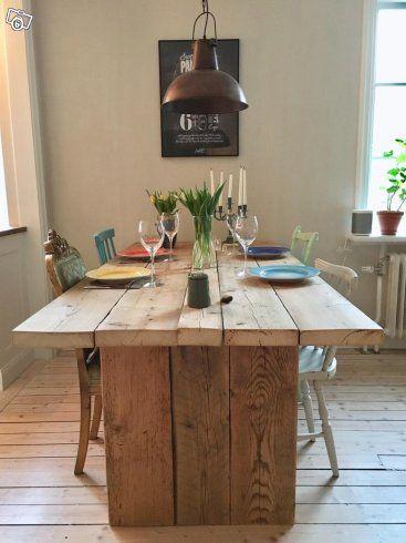 Fint massivt köksbord eller matsalsbord i trä. Det är byggt av återvunnet trä från en sjöbod på Smögen med fina och breda plankor i bordsskivan som ger bordet en gedigen karaktär. Passar lika bra i det moderna hemmet som i det lantliga!   Längd: 200 ...