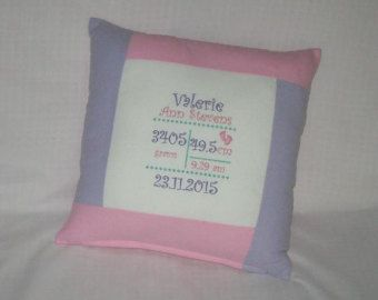 Personalized Embroidered Birth Notice Cushion