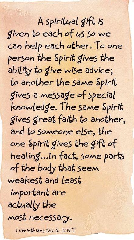 1 Corinthians 12:7-9, 22