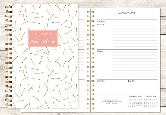 2015 planner | 2015-2016 calendar | custom weekly student planner | personalized planner agenda daytimer | gold pink arrows