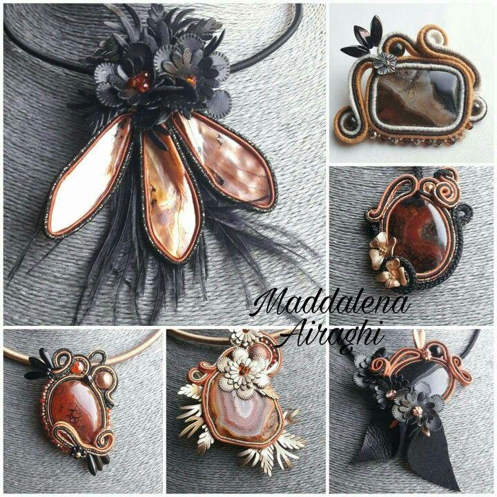 Mi sono innamorata di questo color bruciato, cosi di moda quest'autunno,  unito al nero! E sono nati loro... pendenti, spille, collane...
