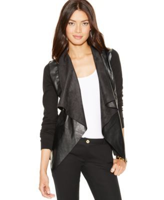 MICHAEL Michael Kors Mixed-Media Draped-Front Cardigan $130.00 Layer on some edge with this mixed-media cardigan by MICHAEL Michael Kors.