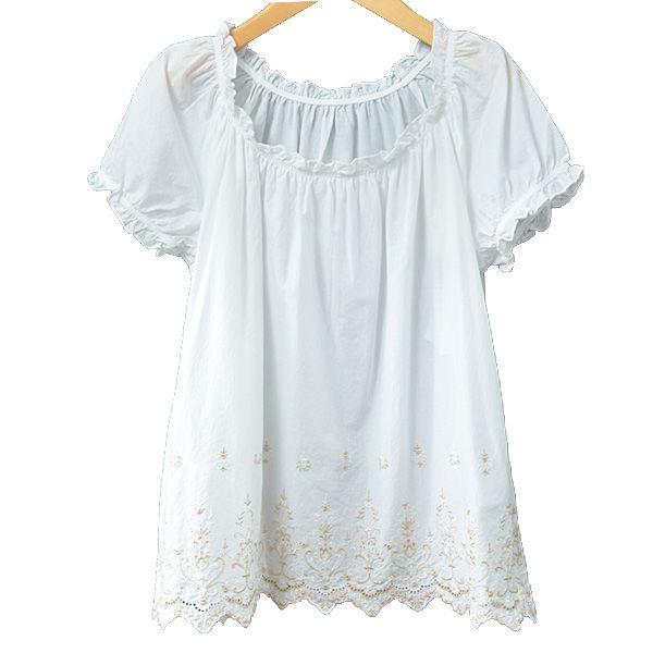 綿100 ブラウス シャツ スモック ナチュラル レディース 綿ローン裾雌雄スカラップスモックブラウス オフホワイト ネイビー 白 紺 mサイズ