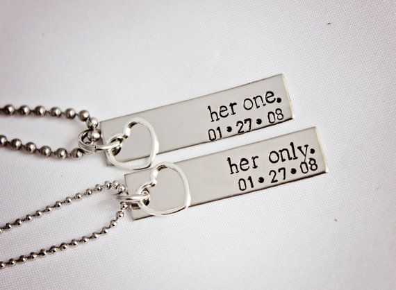 Her One, Her Only - The Original - Lesbian Couples Jewelry - Hand Stamped Stainless Steel LGBT Necklace Set - Sterling Silver Heart Charm