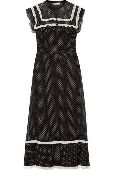 REDValentino - Ruffled Polka-dot Chiffon Midi Dress - Black