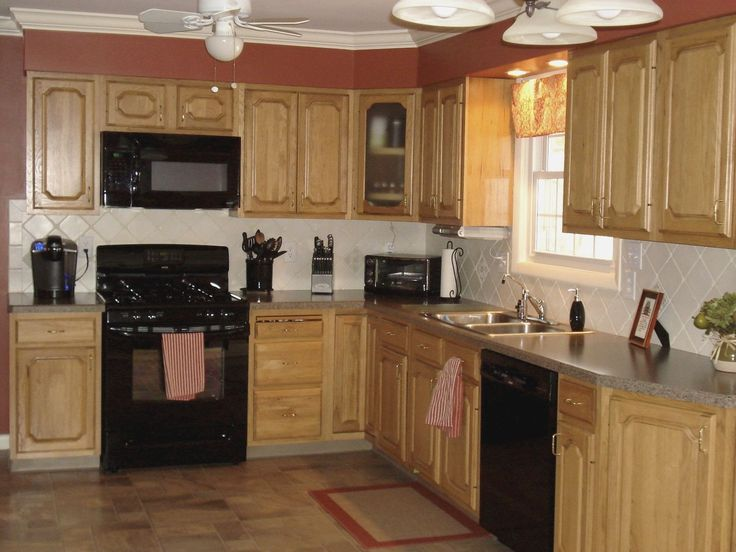 Kitchen Color Ideas Oak Cabinets And Black Appliances