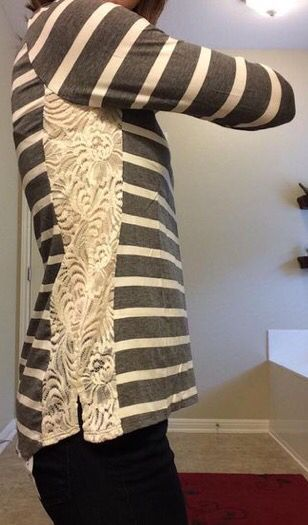 Stitch Fix 2017 Fashion! Sign up today & ask your stylist for great items like these. Lace detail on the side of the striped tee makes it easy to dress up or down. #stitchfix #Sponsored