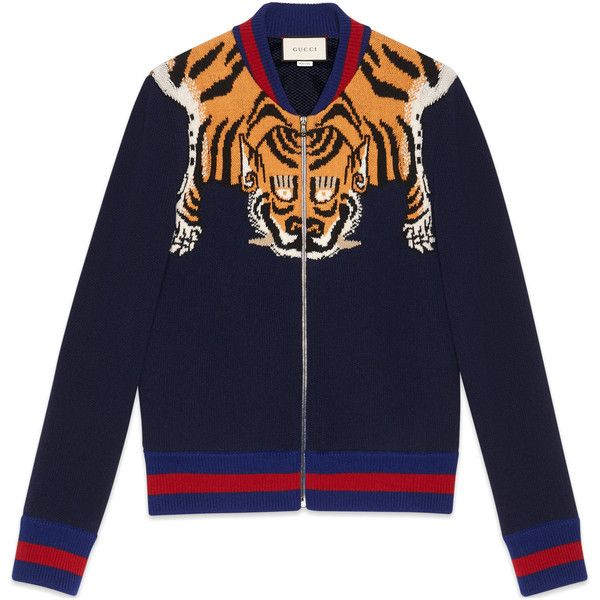 Gucci Wool Jacket With Tiger ($1,030) ❤ liked on Polyvore featuring men's fashion, men's clothing, men's outerwear, men's jackets, men, new knitwear, ready-to-wear, mens blue jacket, mens jackets and mens wool jacket