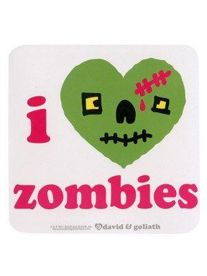 Stickers David & Goliath : i <3 zombies