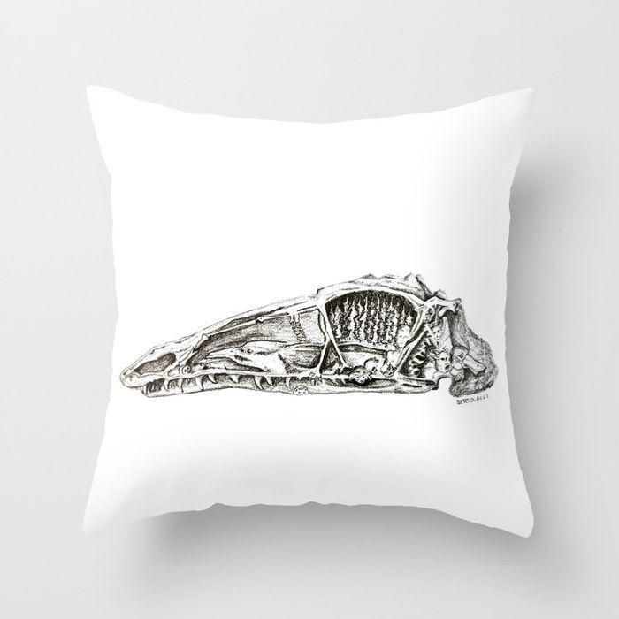 Coelophysis skull Throw Pillow