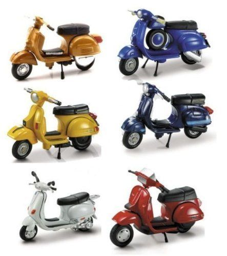 VESPA SCOOTER 6 Piece SET NEW RAY DIECAST ASSORTED MODELS by New Ray. $34.95. Officially Licensed by Vespa 1/32 Coolectible Die Cast Models. 1. Vespa Rally 180 (1968) 2.Vespa 90SS (1965) 3. Vespa P200E (1978). 4. Vespa 125 T5 POLE Position (1985) 5. Vespa ET4 125 (1996) 6. Vespa ET3 (1976). Complete Set Brand New In Package!!. Hard To Find All Together!  06047AS. Officially Licensed by Vespa 1/32 Coolectible Die Cast Models. 1. Vespa Rally 180 (1968) 2.Vespa 90SS (1965) 3. V...