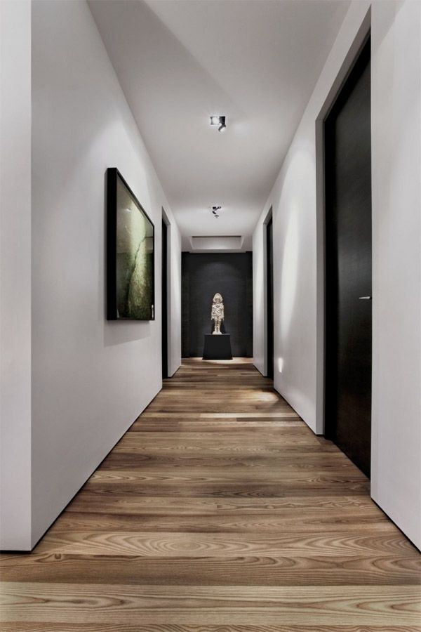 Modern hall with black doors and art and horizontal medium wood plank hardwood floors