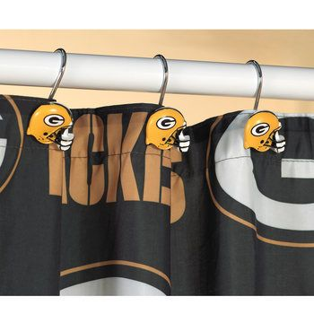 Green Bay Packers Helmet Shower Curtain Rings at the Packers Pro Shop http://www.packersproshop.com/sku/2018230008/